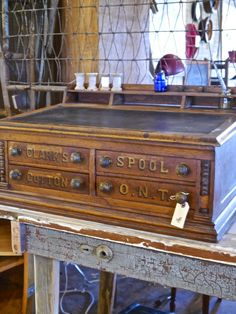 Vintage spool chest with desk top