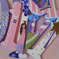 Hand painted princess themed wooden letters.  on Etsy, $22.44 CAD