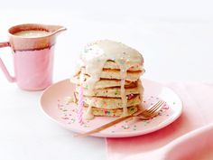 Birthday Pancakes : Make an impressive tower of pancakes for a morning birthday celebration — or serve them as short stacks. Cooking the pancakes over medium-low heat keeps them lightly golden so the confetti sprinkles really pop.