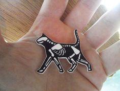 Skelecat brooch by rafflesbizarre on Etsy, $10.00