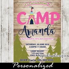 LET'S GO GLAMCAMPING!  A chic Glam Camping Party invitation for girls featuring a teepee tent with a pine forest against a rustic wood backdrop. Perfect for a glamping themed party, as a sleepover party invitation or for a wild and fun camp out in your own yard, local camp ground or even your living room for an indoor camp-in. #cupcakemakeover