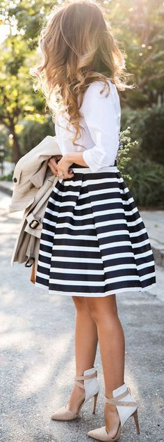 Black and White Stripped Mid Skirt and White Lace Top Summer 2015 Fashion Look.