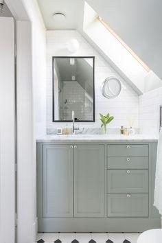 Custom built small bathroom with angeled ceiling in farrow and ball teal green. Bathroom Styling, Small Bathroom, Bathrooms Remodel, Rustic Bathrooms, Bathroom Storage, Bathroom Decor, Bathroom Design, Tile Bathroom, Zen Bathroom