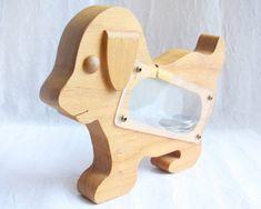 Wooden Toy, 70s Vintage coin bank - toy puppy - cutout woodden dog - see thru…
