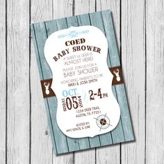 Co-ed Baby Shower Invitation, Sweet Deer, Blue and Brown - $7.50 - #invitations #custominvite #coedbabyshower #rusticbabyshower