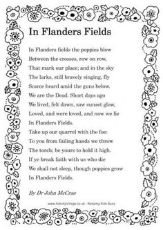 "▪️Remembrance Day poem: ""In Flander's Fields"" written during the First World War by Canadian physician Lieutenant Colonel John McCrae▪️ Remembrance Day Poems, Remembrance Day Activities, Armistice Day, Flanders Field, Anzac Day, Thinking Day, Keep The Faith, World War One, Veterans Day"