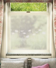 Paper Meadows Edge window film by Hannah Nunn, only available at The Window Film Company. White print on frosted window film, for privacy & style at home Frosted Window Film, Window Films, Light Crafts, Wood Beds, Window Design, Of Wallpaper, Lamp Design, Weekend Is Over, Window Treatments
