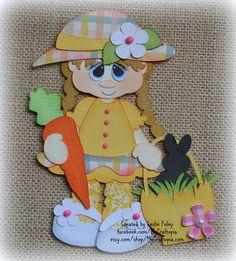 Easter Spring Girl Premade Scrapbooking Embellishment Paper