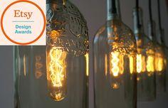 """Hängelampen - Vintage Flaschenlampe Hängelampe """"cinco"""" - ein Designerstück von Uniikat-Shop bei DaWanda"""