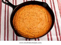 This is southern corn bread. Made in a cast iron skillet. Crispy on the top. Crispy on the bottom. 'Bout 1/2 inch thick. Made with buttermilk! It's crumbly! YUM!!!