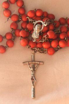 Orange beads in Rosary