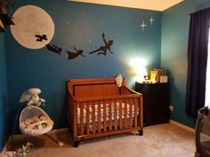 Just finished painting our sons Peter Pan nursery! Very simplistic, with minimal colors as to not over stimulate him. Beyond thrilled with how it has turned out! Simply beautiful :)