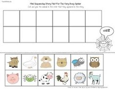 Spider activities: FREE spider worksheet sequencing the Very Busy Spider Story.  Laminate and make as a center, or run off copies for your students to cut and glue in the appropriate order.  They can do this activity while watching a short YouTube video of the story.  Link provided.