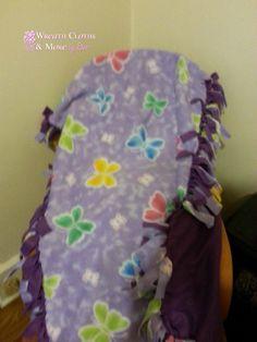 Purple Butterfly Fleece Tie Blanket by WreathClothsbyDee on Etsy, $15.00