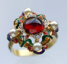 RENAISSANCE REVIVAL  Ring   Gold Enamel Garnet Pearl Diamond  British, c.1880