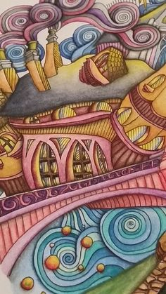 """Close up picture of the page """"Bruges"""" in the adult coloring book The Magical City. Colored by Dayna Brown using inktense pencils activated with a waterbrush."""
