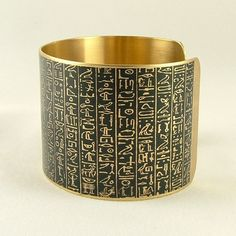 Book of the Dead Brass Cuff Bracelet - Heiroglyphic Egyptian Jewelry - Ancient Egyptian Hieroglyphs.