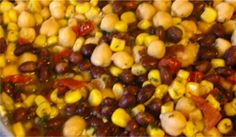 recipe for chickpea and black bean salad ... a vegan side dish for BBQ season