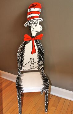Dr. Seuss Cat In The Hat Upscaled Chair Painted By Artist Todd Fendos