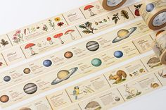 Japanese Washi Masking Tapes / 30mm wide. Plants, Flowers, Animals, Planets.