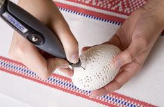 Carving with mototool.. Dremel 3000, Sculpture Dremel, Power Carving Tools, Carved Eggs, Home Grown Vegetables, Egg Crafts, Egg Art, Bone Carving, Egg Decorating