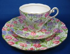 Sweet Pea Chintz Cup and Saucer With Matching Plate Royal Standard 1950s by AntiquesAndTeacups on Etsy, $72.00