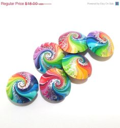 Christmas in July sale Colorful swirl lentil beads by ShuliDesigns, $15.30