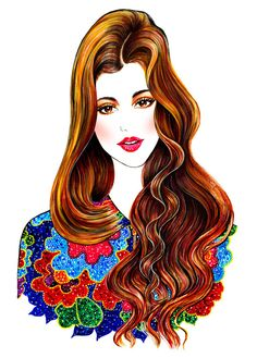 Ingrid portrait - Fashion Illustrations by Sunny Gu Fashion Illustration Face, Beauty Illustration, Graphic Design Illustration, Fashion Illustrations, Art Illustrations, Ingrid, Spring Is Here, Portrait, Fashion Sketches