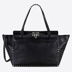 Valentino Rockstud Noir Medium Leather Black Tote