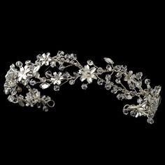 Crystal and Rhinestone Floral Wedding Headband hp6902 - Affordable Elegance Bridal -