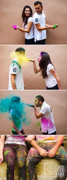 Holi Powder Colours Couples Engagement Shoot, Colour War, Couple Photography, Save the Date Photography, Dubai Wedding Photographer | Candid Kama Photography