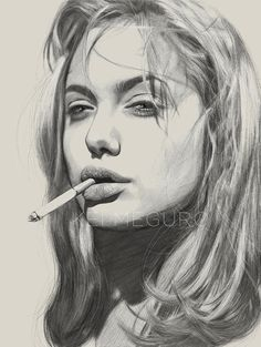 Drawing Pencil Portraits - Kei Meguro Pencil Illustrations of (mostly) Women Discover The Secrets Of Drawing Realistic Pencil Portraits Portrait Au Crayon, Pencil Portrait, Portrait Art, Pencil Art Drawings, Art Drawings Sketches, Realistic Drawings, Drawing Faces, Horse Drawings, Drawing Art