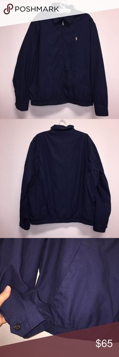 """Polo Navy Bomber Jacket Size L, no flaws. Armpit: 25"""". Length: 26''. Feel free to ask any questions! No trades or model photos. Offers thru offer button only. Items ship same day M-F if purchased before 2pm PST! Polo by Ralph Lauren Jackets & Coats Bomber & Varsity"""