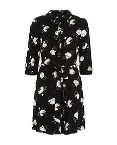 Black Rose Print Shirt Dress  | New Look