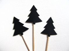24 Black Tree Cupcake Toppers, Woodland Wedding, Party Decor - pinned by pin4etsy.com