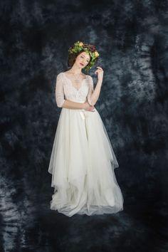 Ivory lace bohemian wedding dress, boho wedding dress, long sleeve wedding dress, destination wedding dress, beach wedding dress in tulle by ElaSiromascenko on Etsy https://www.etsy.com/listing/259824068/ivory-lace-bohemian-wedding-dress-boho