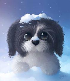 Shih Tzu Challenge by NezuPanda on DeviantArt Cute Animal Drawings, Cartoon Drawings, Cute Drawings, Cute Baby Animals, Animals And Pets, Cute Puppies, Cute Dogs, Perro Shih Tzu, Happy Puppy