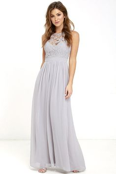 Go one step beyond the dress of your dreams and you'll find the So Far Gown Grey Lace Maxi Dress! A lovely crocheted lace yoke forms a sweetheart silhouette atop a lightly padded bodice with darted detail. Dreamy chiffon takes over at the banded waist to fall into a showstopping maxi skirt. Three hook clasps join above the open back. Hidden back zipper with clasp.