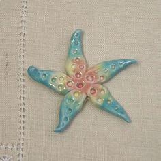 Handmade Porcelain Starfish Focal Bead in Rainbow by PorcelainJazz on Etsy.