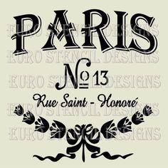 Paris Stencils | PARIS No.13 Stencil created from 7 mil clear mylar.