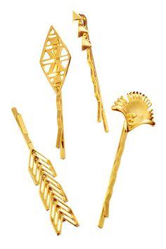 Instantly Luxe Locks  Gorjana & Griffin hairpins, $35–$40, gorjana-griffin.com.