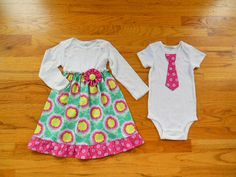 Matching Outfits Brother Sister Siblings - Girls Bodysuit Dress Boys Tie Bodysuit or Tshirt - Buttercups in Pink - Soul Blossoms collection Tie Onesie, Bodysuit Dress, Onesies, Twin Outfits, Matching Outfits, Girl Outfits, Boy Girl Twins, Baby Boy, Baby Pictures