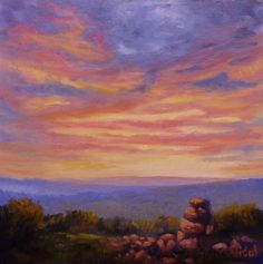 Sunset Sky 1 (Painting),  30x30x4 cm by Christopher Vidal An original painting of a sunset sky, inspired by the sunset while staying at a property around 50km north of Bathurst  This painting is UNFRAMED  This painting is varnished for protection.  Artworks by Christopher Vidal are found in private and corporate collection in Australia and Internationally.  Copyright Christopher Vidal (2016)  I have a copyright on this original painting so it may not be copied in any way however original…