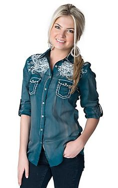 Roar Women's Glistening Teal with White Floral Embroidery and Screen Print 3/4 - Long Sleeve Western Shirt   Cavender's