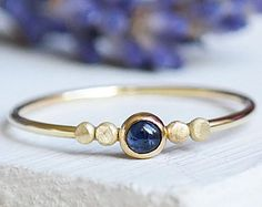 Sapphire Ring, Gold Ring, Sapphire, Stacking Rings, Birthstone Ring, 9ct Gold Ring, Dainty Ring, Gold Stacking Ring, Solid Gold Ring