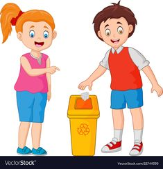 Kid throws garbage in the trash Royalty Free Vector Image School Boy, Pre School, Preschool Charts, School Murals, Dog Coloring Page, Islam For Kids, School Labels, Kids Daycare, School Clipart