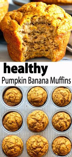 These Healthy Pumpkin Banana Muffins are a tasty snack for toddlers, kids and adults. Everyone will love the warm pumpkin flavors. These Pumpkin muffins are naturally sweetened and made with whole wheat flour, so they are as healthy as they are delicious! Healthy Muffins, Healthy Baking, Healthy Desserts, Dinner Healthy, Eating Healthy, Clean Eating Pumpkin Muffins, Clean Banana Muffins, Healthy Meals, Baby Food Recipes