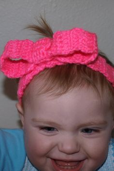crochet headband hot pink with bow by mylittlebows on Etsy, $4.00