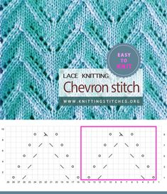 Chevron Lace Easy To knit Lace Knitting Stitches, Knitting Patterns, Eyelet Lace, Slip Stitch, Knitting Projects, Magnolia, Chevron, Socks, Easy
