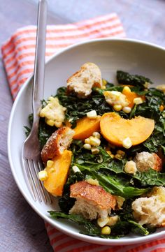 Kale Salad with Peaches, Corn, and Basil-Honey Vinaigrette   very good - made it without croutons and without the cheeses